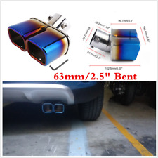 Universal 63mm Bent Cars Inlet Tail Rear Exhaust Dual Pipe Tip Muffler Cover