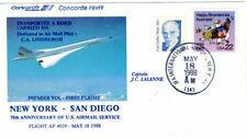 7035+  FDC CONCORDE AIR  FRANCE 1er  VOL  NEW YORK  / SAN DIEGO