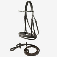 Horze Kent Soft Padded Snaffle Bridle With Rubber Reins and U-Shaped Browband