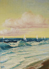 ORIGINAL ACEO OIL PAINTING SEASCAPE Fine Art Sea Bay Coastal Surf Mesheryakov