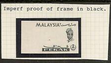 MALAYA PERAK 1965 ORCHIDS IMPERF BLACK PROOF OF FRAME ON GUMMED PAPER