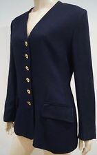 JAEGER Navy Blue V Neck Gold Tone Button Fastened Formal Blazer Jacket UK14 US12