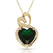 4.20 Carat Halo Emerald Double Heart Gemstone Pendant & Necklace14K Yellow Gold