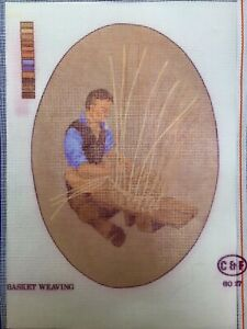 """Printed Tapestry Needlepoint Canvas - Basket Weaving C&F 8x12"""" Traditional Craft"""