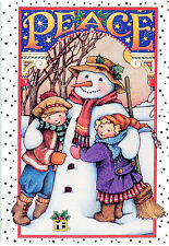Mary Engelbreit-Peace Snowman with Children-Sunrise Christmas Card-New!