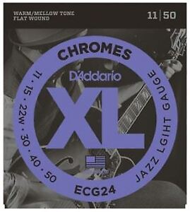 D'Addario ECG24 Chromes Flat Wound Electric Guitar Strings - 11-50