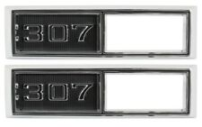 "68-69 Chevy "" 307 "" Side Marker Light Lamp Bezel Chrome Trim Parts"