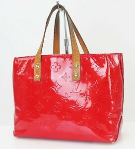 Authentic LOUIS VUITTON Reade PM Red Vernis Leather Tote Hand Bag Purse #40151