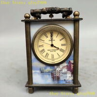 Collection Chinese Pure copper painting people Western Mechanics Desk clock