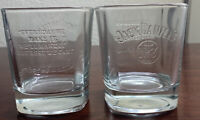 Jack Daniels Whiskey Embossed Old NO.7 Square Rocks Clear Glass
