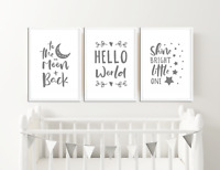 Grey Nursery Art Prints  / Pictures for Baby Boys / Girls Bedroom Decor