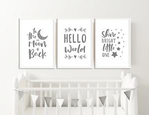 Grey Nursery Art Prints  / Pictures for Baby Boys / Girls Bedroom Decor