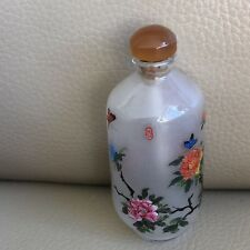 Vintage Snuff Bottle Oriental Reverse Painted Glass Floral Box Measuring Spoon