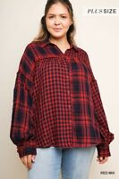 umgee Plaid & Checkered Print Long Sleeve Button Up Collared Top xl 1x 2x