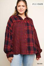 umgee Plaid & Checkered Print Long Sleeve Button Up Collared Top xl 1x 2x