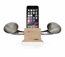 Apple iPhone+Android series Loudspeaker.Docking stand.Horn stand.Wood+Silver