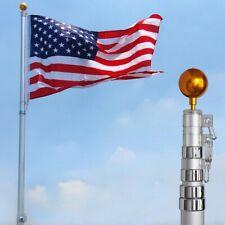 25FT Flag Pole Aluminum Telescopic Flagpole Kit US Flag Flies 2 Flags