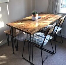 Handmade Solid Wood Dining Table Hairpin Legs Industrial Kitchen Reclaimed