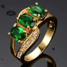 4*6mm Ring Size 7-10 Green Emerald Women's 10Kt Yellow Gold Filled Wedding Gift