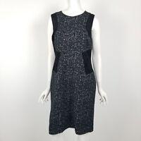 Calvin Klein Sheath Dress Womens Size 12 Sleeveless Career Black White