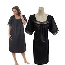 57500ea93 Ladies Satin Nightdress Chemise Nightie Nightshirt with Short Sleeve Plus  Size
