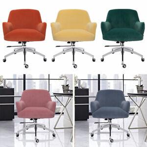 Adjustable Ergonomic Velvet Office Chair Swivel Computer Desk with Chrome Legs