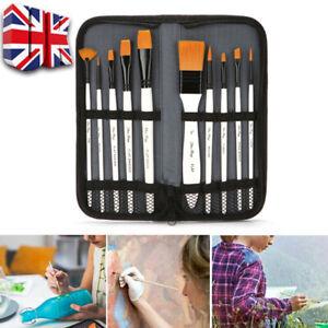 10 Pcs Pro Art Painting Brushes Set Acrylic Oil Watercolor Artist Paint Brush UK