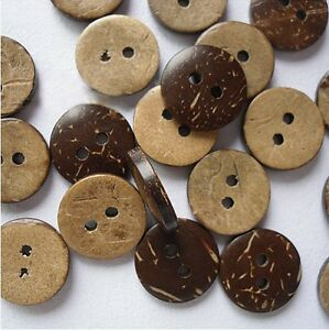 100pcs Coconut Shell Buttons 2 Holes Sewing Scrapbooking Bouton 15mm
