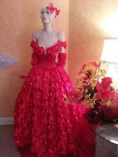 Scarlet Rose Goddess Red East Indian Off Shoulder Bridal Wedding Ball Gown