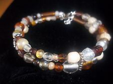 Hot Glass Lampwork Fashion Jewelry Mixed Multi Color Bead Bracelet G-04