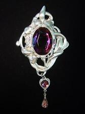 3-Purple Stone Brooch Silver Pewter Artistic Inspired