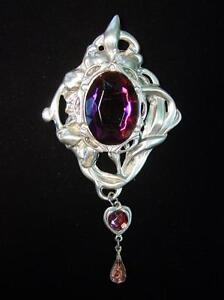 Silver Pewter ARTISTIC Inspired 3-Purple Stone Brooch