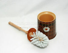 Brown Pattern Contemporary Woven Design Toilet Brush and Holder Free Standing