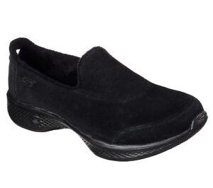 NEU SKECHERS Damen Fitness Sneakers Slipper GO WALK 4-INTERACT Schwarz