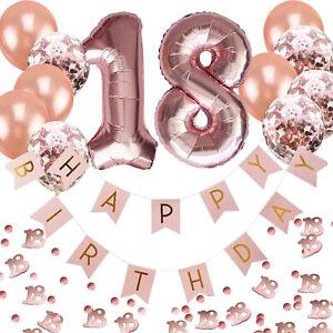 18. Geburtstag Deko Set - Folien Luftballons 18 Girlande Konfetti Ballons uvm.