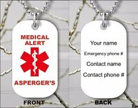 ASPERGER'S MEDICAL ALERT PERSONALIZED DOG TAG PENDANT NECKLACE -hnm7Z