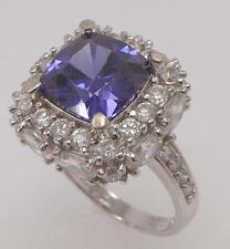 925 STERLING SILVER CUSHION CUT SYNTHETIC TANZANITE SOLITAIRE RING SIZE 10 RT5