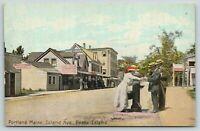 Portland Maine~Peaks Island Avenue~Calderwood Bakery~Sidewalk Weight Scale~c1910