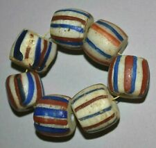 Antique Venetian White Italian Glass Beads W/ Red & Blue Stripes, African Trade