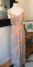 Lulus Jack By BB Dakota Peach Print Summer Maxi Dress Vacation Designer Small