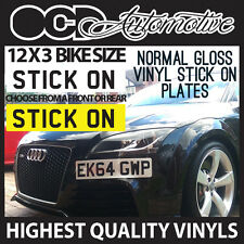 12X3 STICK ON NUMBER PLATE NUMBERPLATE STICKON SMALL FRONT WHITE OR YELLOW BIKE