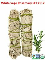 White Sage with Rosemary Smudge Stick SET OF 2 (House Cleansing)Made in USA