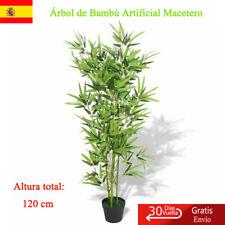 Árbol de Bambú Artificial Macetero 120 cm Verde Maceta Planta Plástico Nuevo