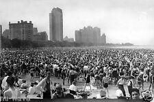 8x12 Photo-Unbelievable Crowd at Chicago Oak Street Beach Lake Michigan in 1925