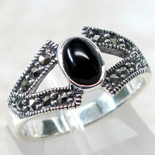 FANTASTIC MARCASITE BLACK ONYX 925 STERLING SILVER RING SIZE 5-10