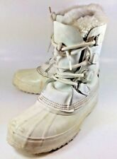 Sorel Womens Boots Winter US 7 White Leather Rubber Lace Rain Snow 2838