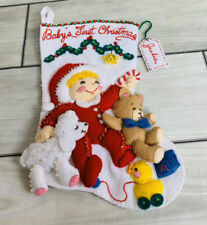 Finished Completed 12 Inch Bucilla Felt Stocking Baby's First Christmas Sequin