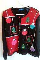 Vintage Karen Scott Ugly Christmas Cardigan Sweater Size Large Black Red