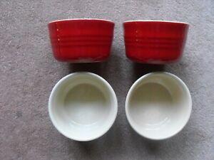 Le Creuset Red Stoneware Ramekins x 4 new