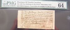 Province of North Carolina Two shillings & six Pence Dec. 1771 graded by PMG